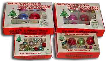 glass ornaments in assorted sizes made in occupied japan and sold in f w woolworth stores - 1940s Christmas Decorations